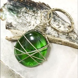 BOGO💫Wire Wrapped Green Apple Glass Keyring